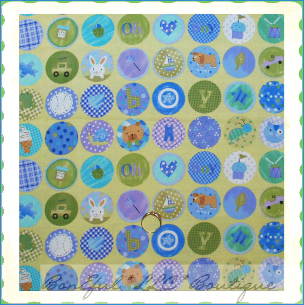 Boneful fabric fq cotton quilt vtg baby boy dot bear bug for Boy quilt fabric
