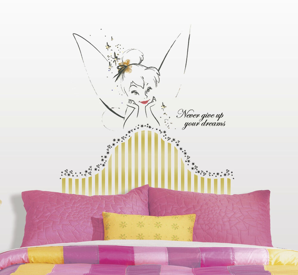 Tinker bell headboard giant wall decals disney fairies for Disney fairies wall mural