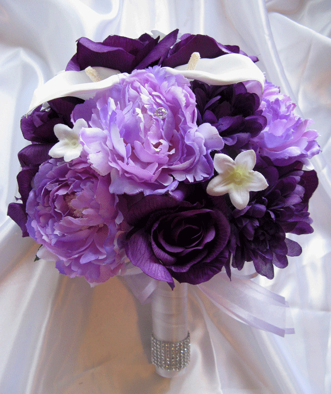 Making A Wedding Bouquet With Silk Flowers: Wedding Bouquet Bridal Silk Flowers PLUM PURPLE LAVENDER