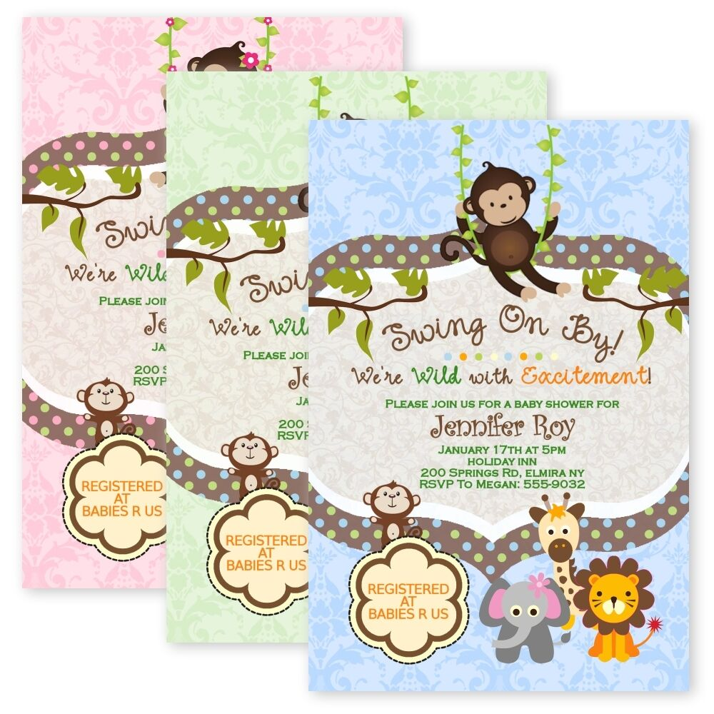 Jungle baby shower invitations swinging monkey giraffe lion elephant jungle baby shower invitations swinging monkey giraffe lion elephant custom card ebay filmwisefo Image collections