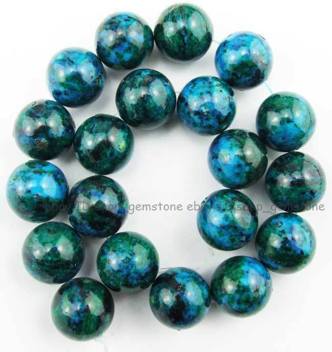 20mm Bead Beads: 20mm Round Smooth Green Phoenix Stone Gemstone Beads 15