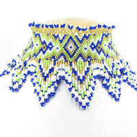BLUE GREEN WHITE SEED BEADED ZIG ZAG VICTORIAN BIB NECKLACE WHOLESALE GIFT