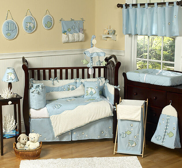 Designer Blue White Sea Ocean Fish Theme 9pc Baby Boy Crib