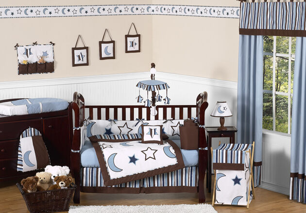Celestial Blue And White Star Moon Themed 9p Baby Boy Crib