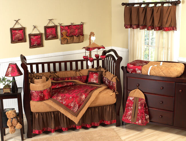 unique discount red brown asian theme 9pc luxury baby girl crib bedding set jojo ebay. Black Bedroom Furniture Sets. Home Design Ideas