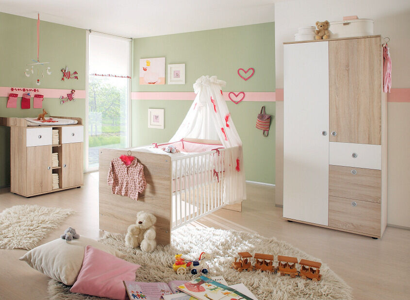 babyzimmer kinderzimmer komplett babym bel komplettset wiki 1 eiche sonoma wei ebay. Black Bedroom Furniture Sets. Home Design Ideas
