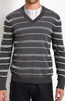 NWT AX Armani Exchange A|X Men's Slim/Muscle Fit Gray Striped V-Neck Sweater New