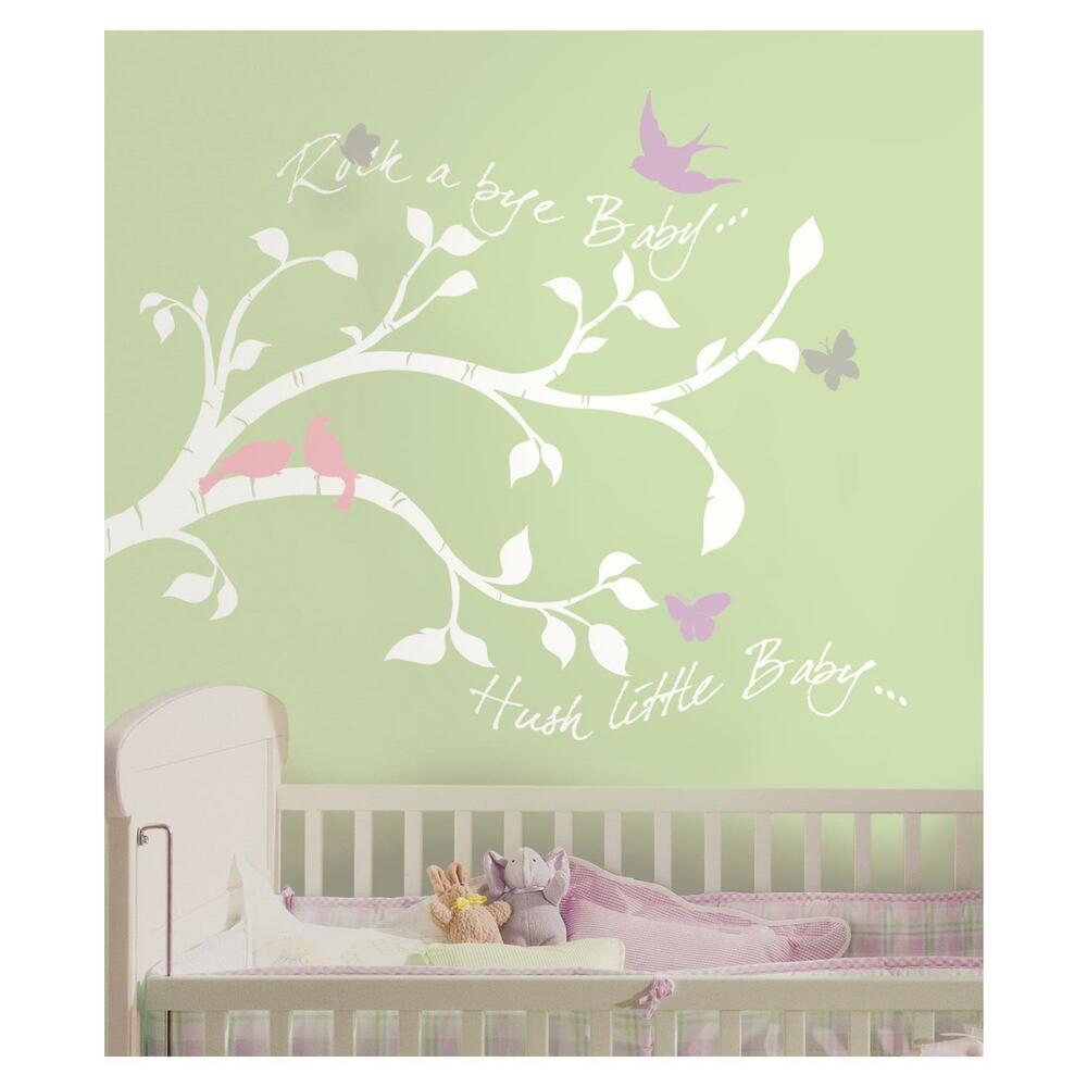 White tree branches wall decals girl or boy nursery for Baby girl nursery mural