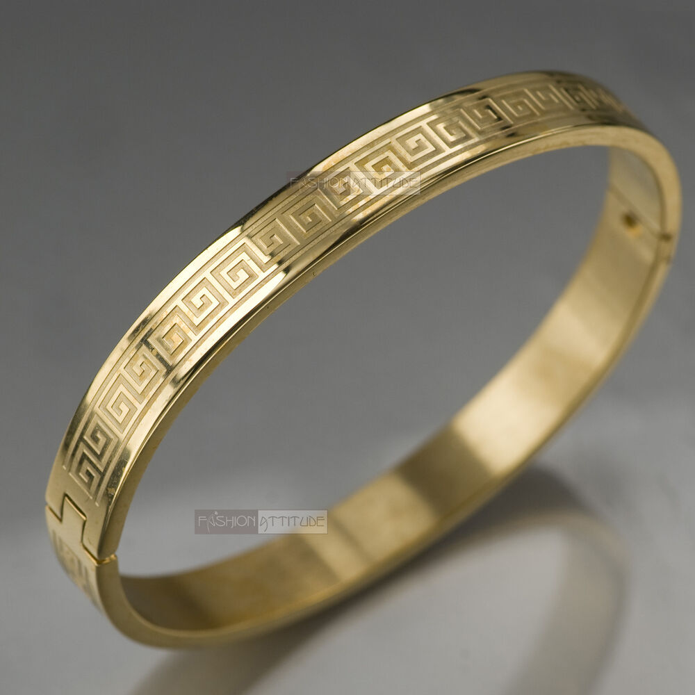 Gold Jewelry Bracelets: YELLOW GOLD BRACELET BANGLE STAINLESS STEEL POLISHED GREEK