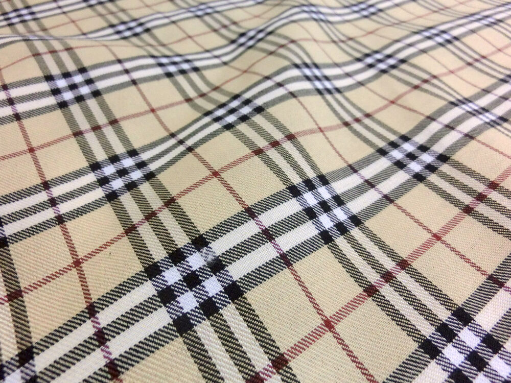Tan ivory black red plaid scotch fabric 44 w cotton blend for Fabric material for sale