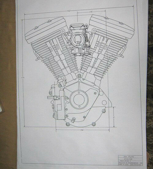harley davidson 80ci evolution engine blueprint hd poster print motorcycle 1340