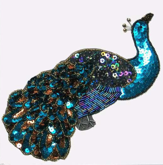 Sequin beaded large peacock applique 2388 l ebay