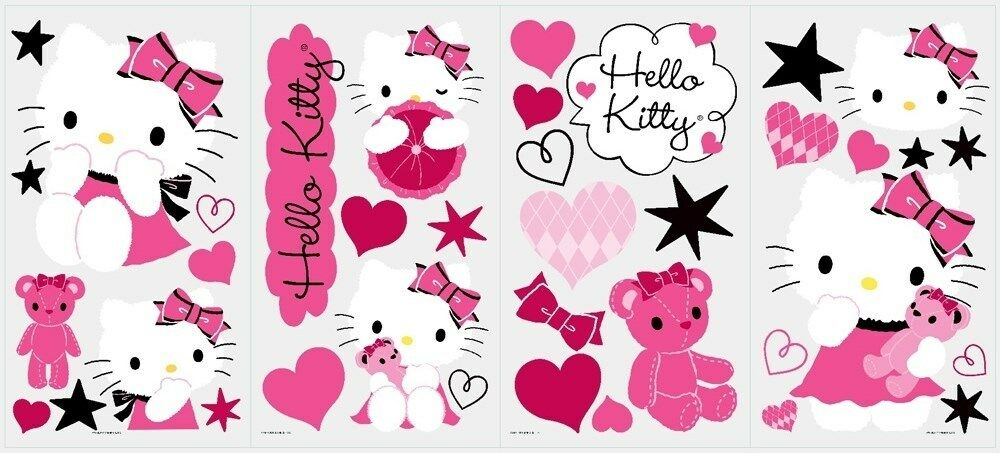 hello kitty couture wall decals 38 new stickers stars hearts cats hello kitty couture wall decals 38 new stickers stars hearts cats decor ebay