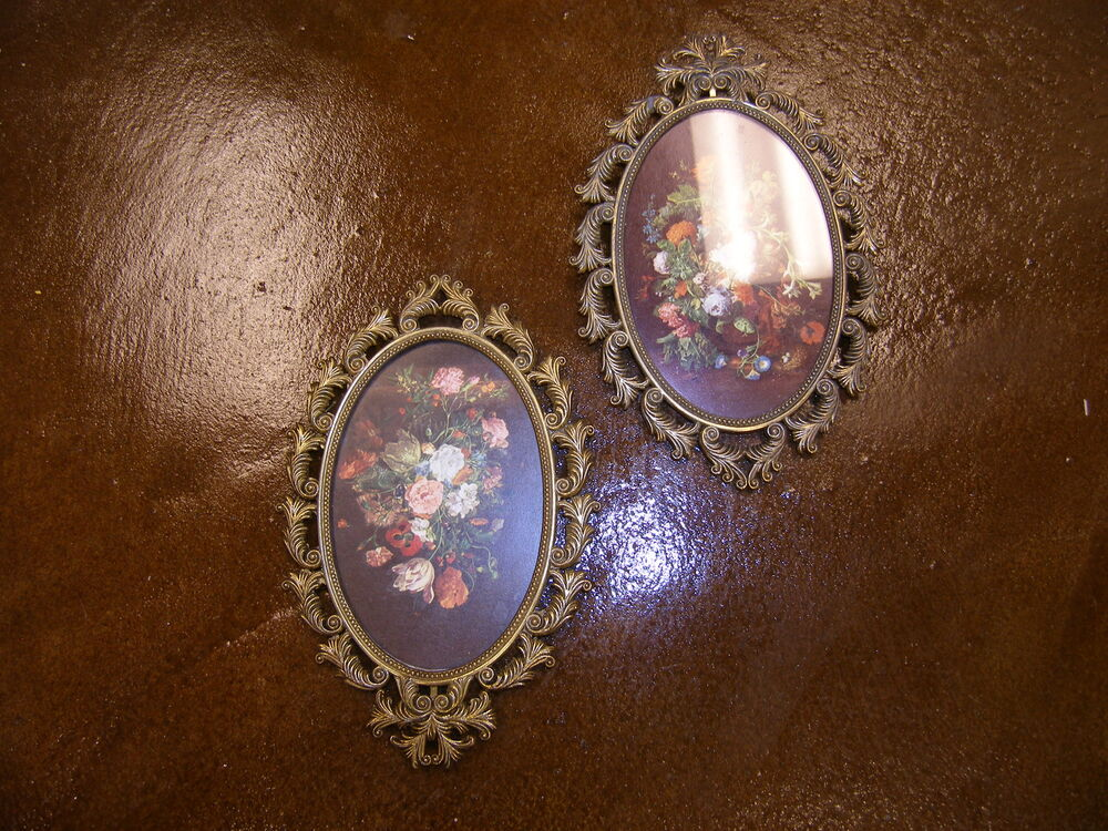 Vintage Floral Prints In Antique Brass Oval Frames Made In