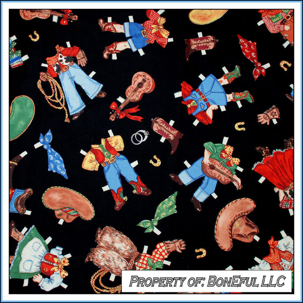 Boneful fabric fq cotton quilt vtg cow boy girl dress for Boy quilt fabric