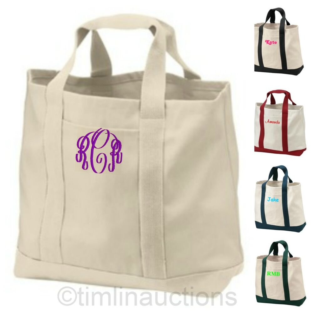 reusable canvas shopping tote bag grocery book bag personalized monogrammed gift