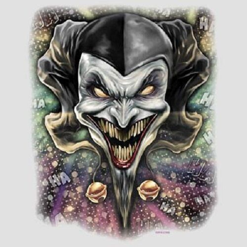 Wicked Jester Clown HEAT PRESS TRANSFER For T Shirt Tote