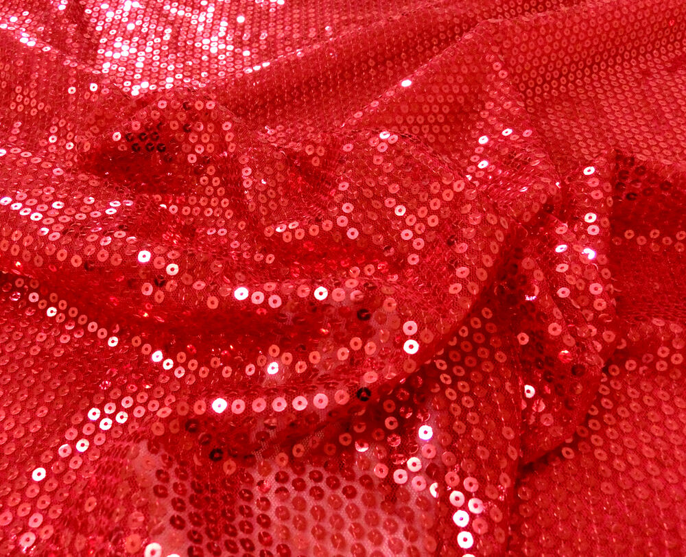 Stretch mesh red 5mm sewn on sequin fabric glitter dance for Sparkly material