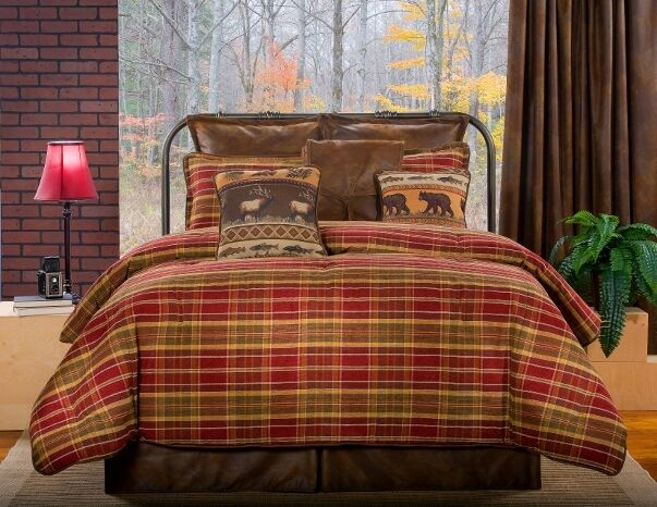 4pc Red Olive Green Tan Brown Plaid Lodge Style Faux