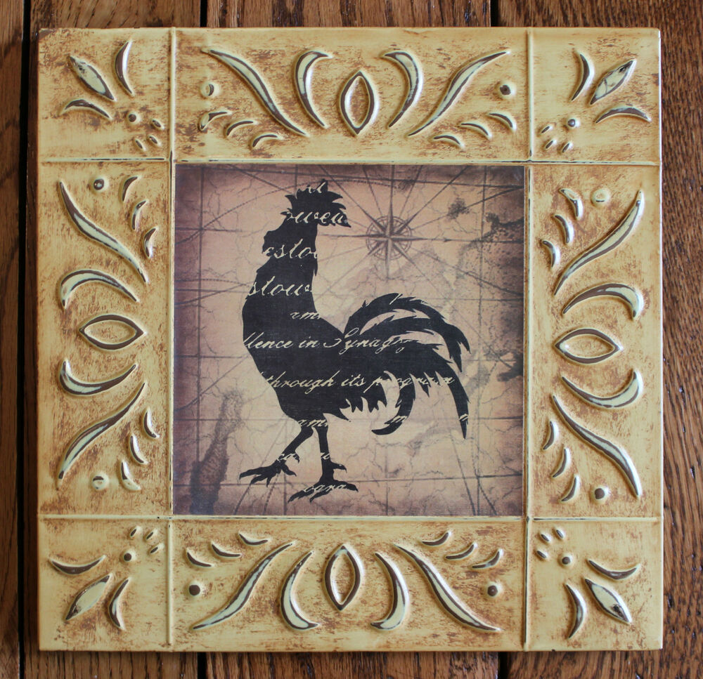Rustic Accent Home Picture Decor Wood Framed Art Rooster