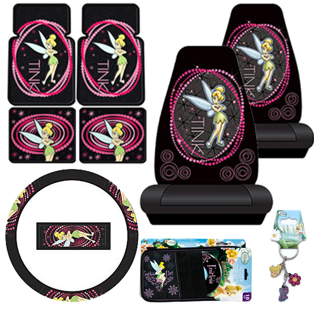 Tinkerbell Car Seat Covers Accessories 9pc Set Optic Floor