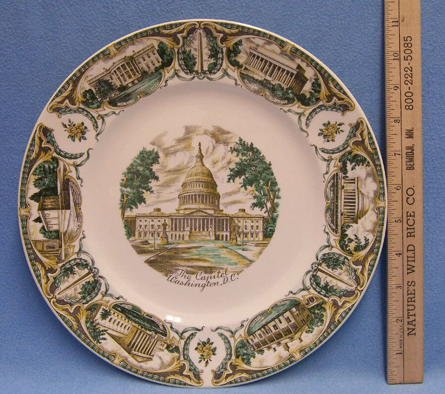 Hotel Collection Plates: Vintage Capitol Washington DC Souvenir Plate Imperial