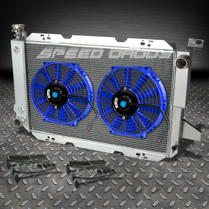 3 Row Aluminum Racing Radiator Blue Fan 85 96 Ford F150