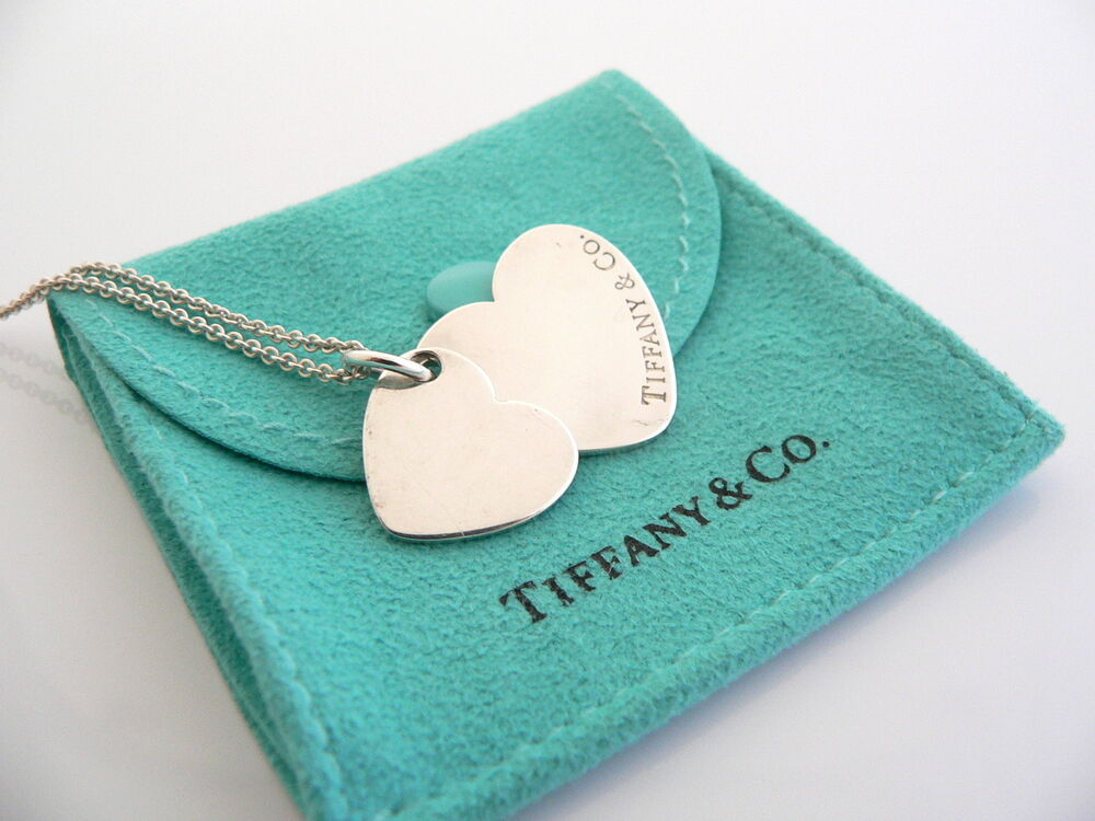 Tiffany Amp Co Silver Double Dual Two Hearts Necklace