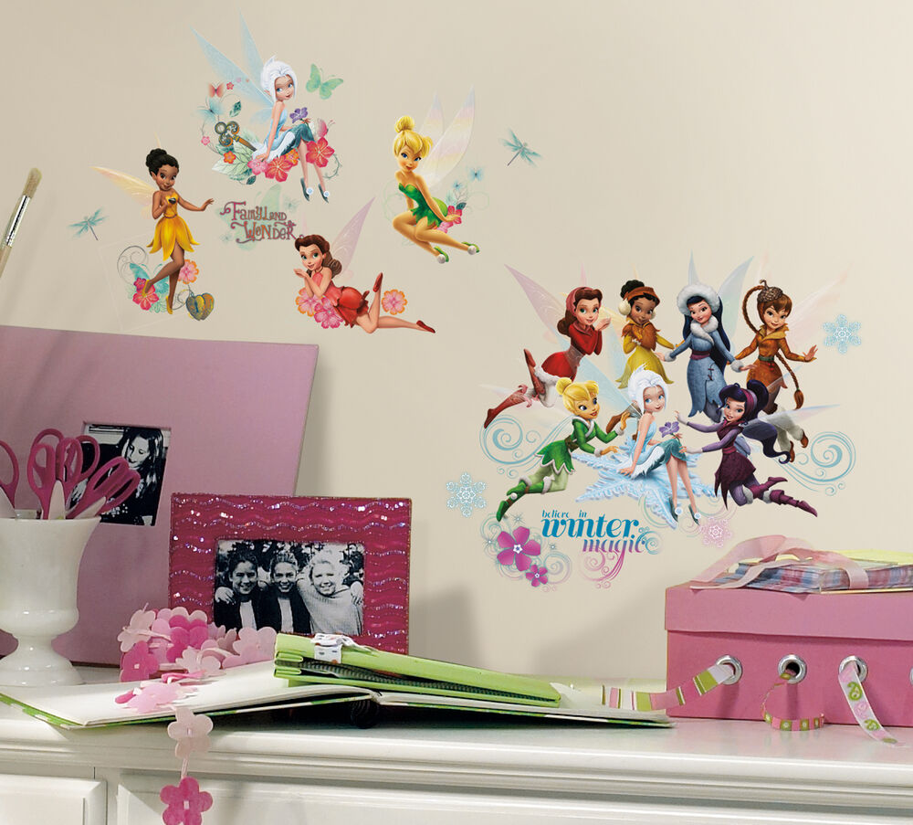 New disney fairies secret of the wings wall decals for Disney tinkerbell mural