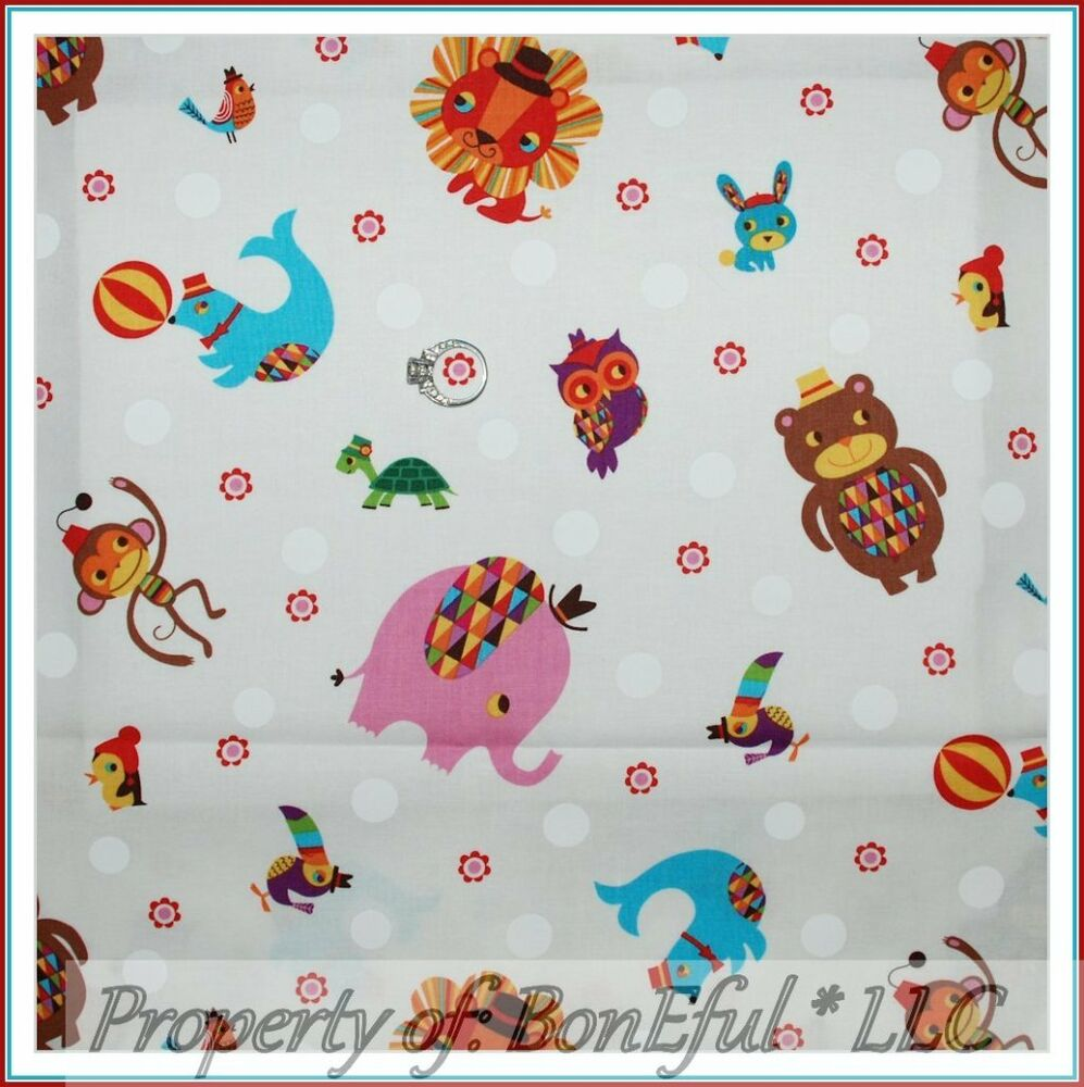 Boneful fabric fq circus nursery baby parrot bear lion for Nursery monkey fabric