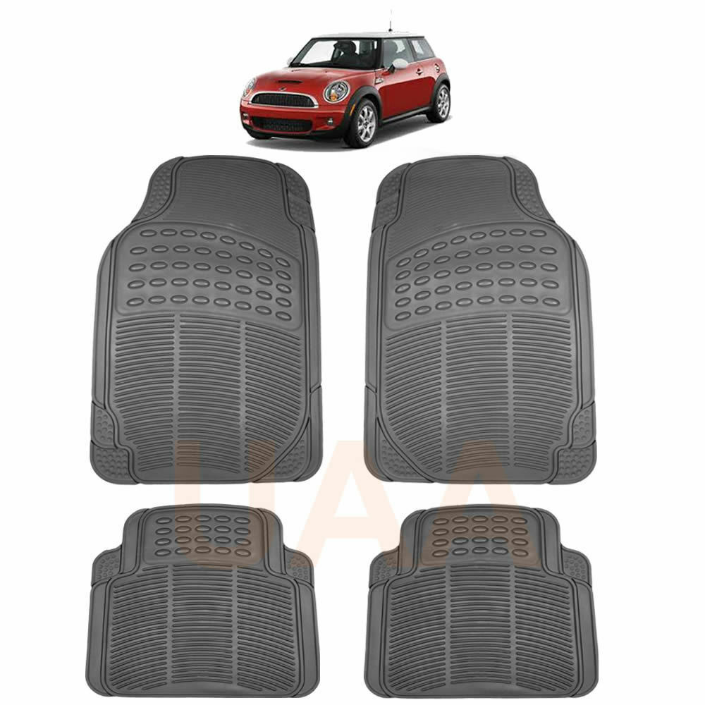 ALL WEATHER GRAY RUBBER FLOOR MATS SET For MINI COOPER