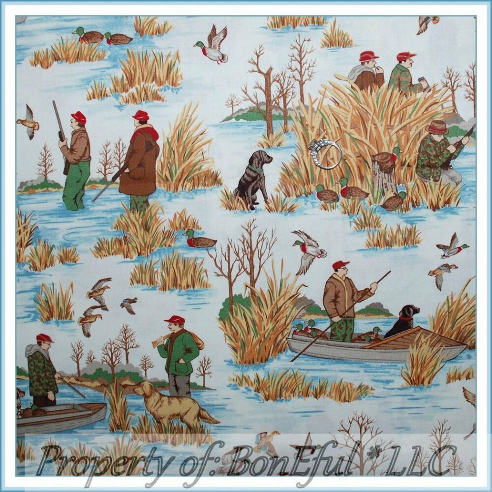 Boneful fabric fq cotton quilt vtg hunt duck bird scenic for Fishing themed fabric