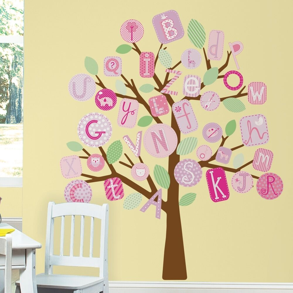 New pink abc alphabet tree wall decals mural baby girl for Baby girl nursery mural