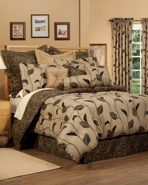 4pc Goregeous Brown Beige Gold Modern Floral Comforter Set