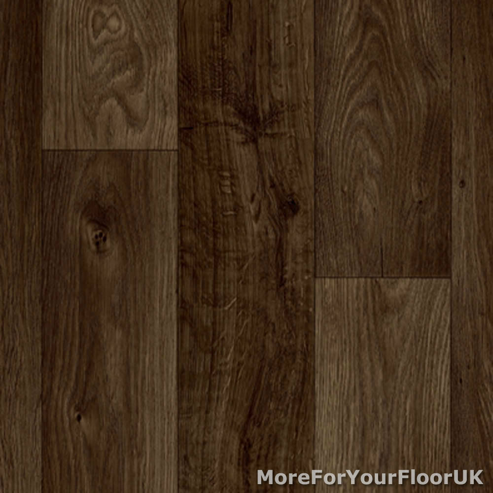Dark Brown Oak Plank Vinyl Flooring Slip Resistant Lino