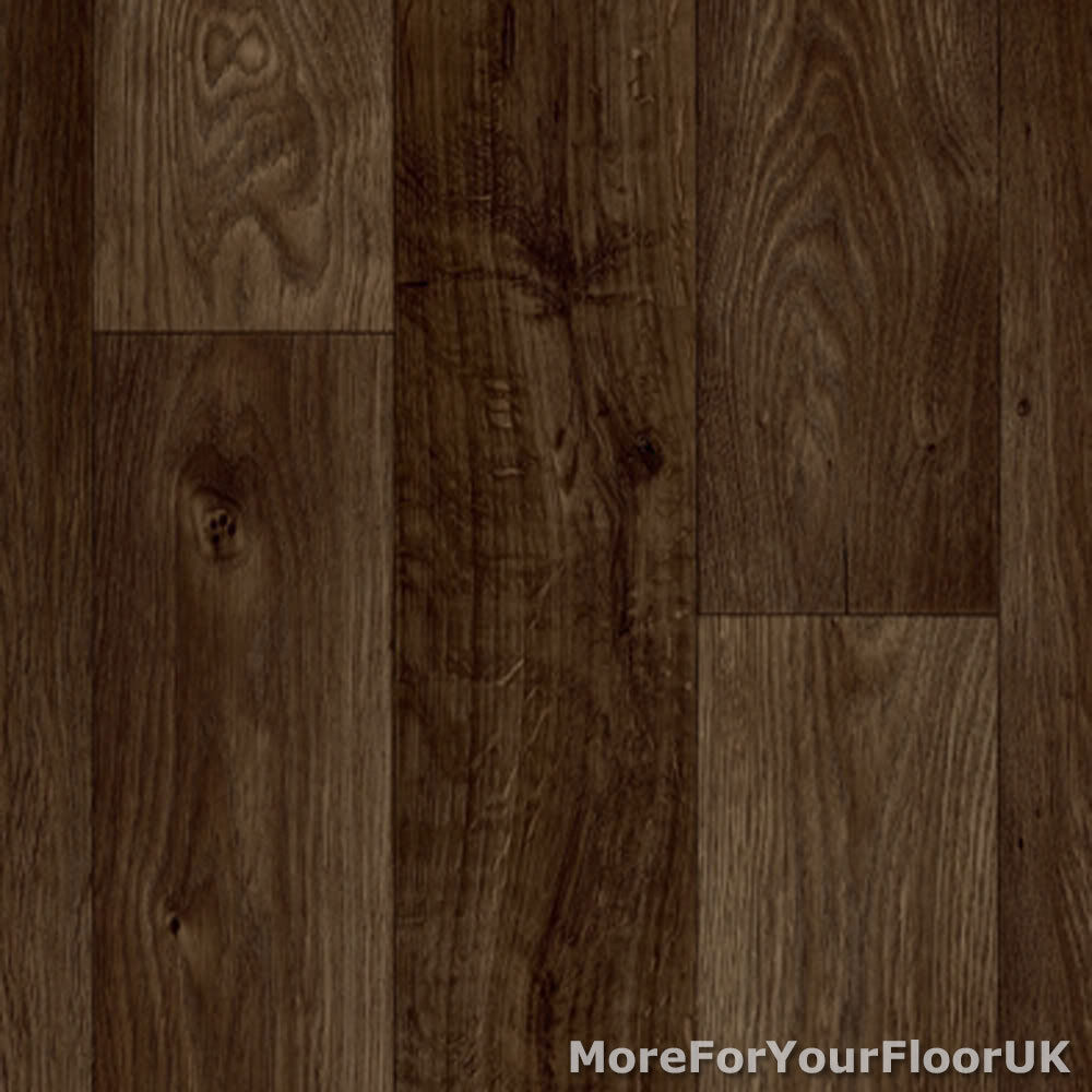 Dark brown oak plank vinyl flooring slip resistant lino for Lino laminate flooring