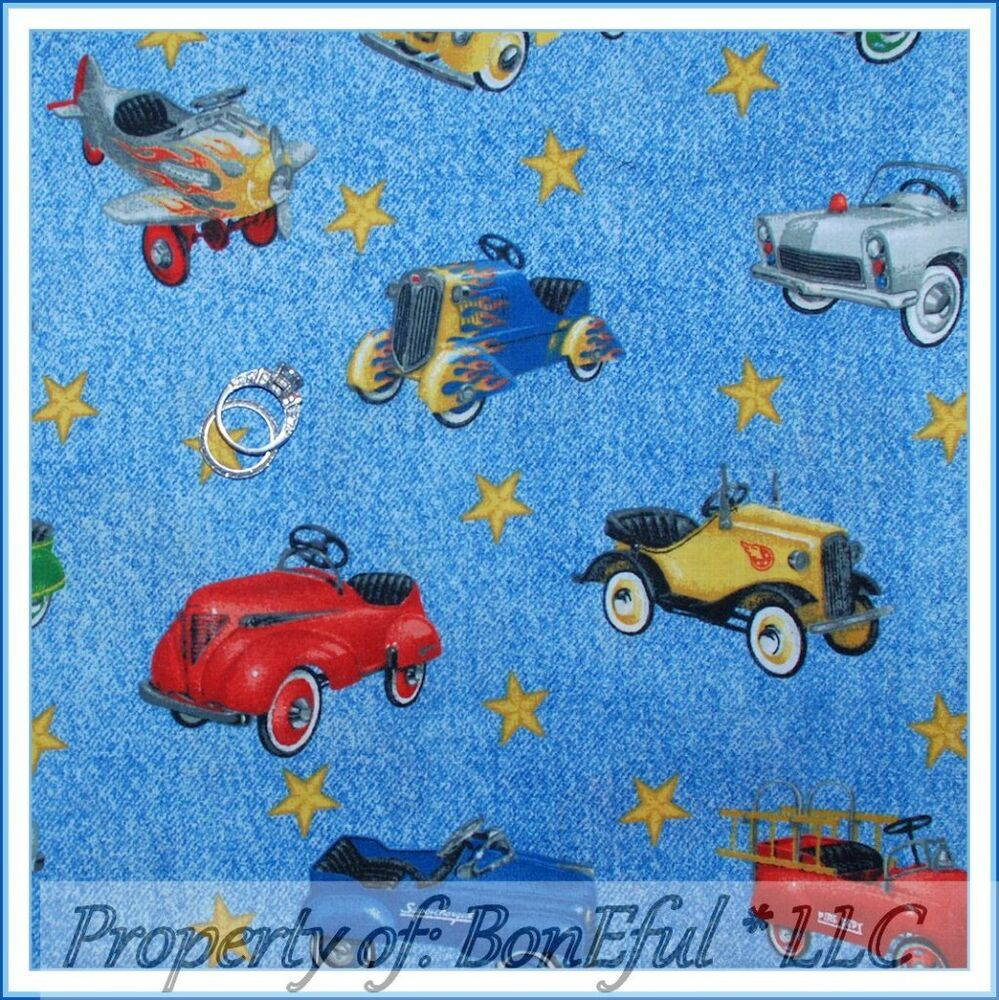 Fabric Roads For Toy Cars : Boneful fabric fq cotton quilt vtg toy pedal car antique