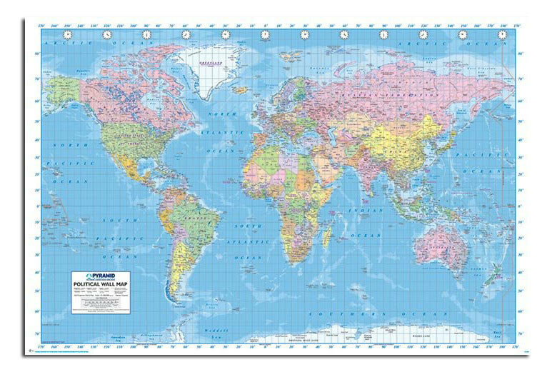 Large Political World Map Wall Chart Poster Published 2013 Laminated Availa