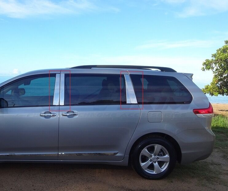Fits Toyota Sienna 2011 2016 Stainless Steel Chrome Pillar