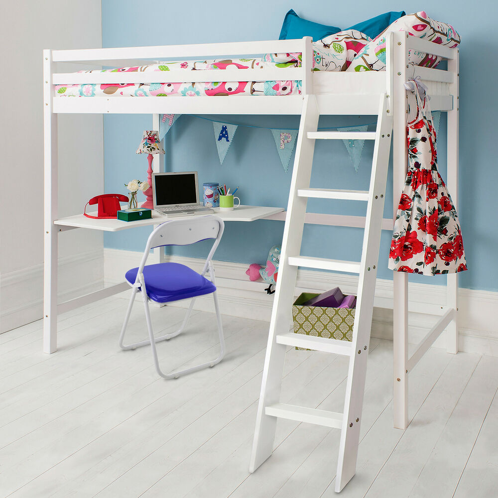 Cabin Bed High Sleeper with Desk in WHITE Bunk Bed HIGH