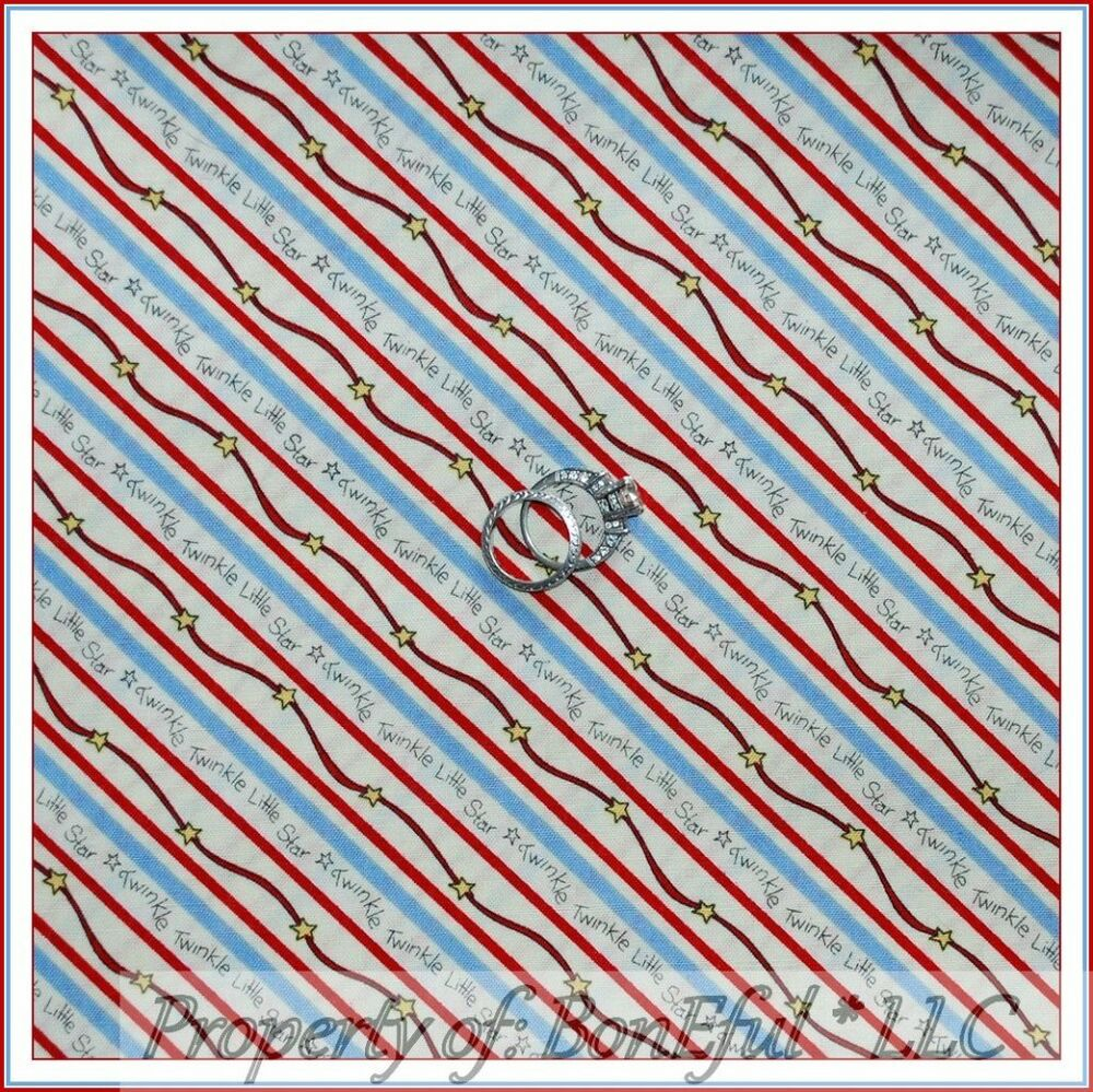 Boneful Fabric Fq Cotton Quilt Red White Blue Twinkle