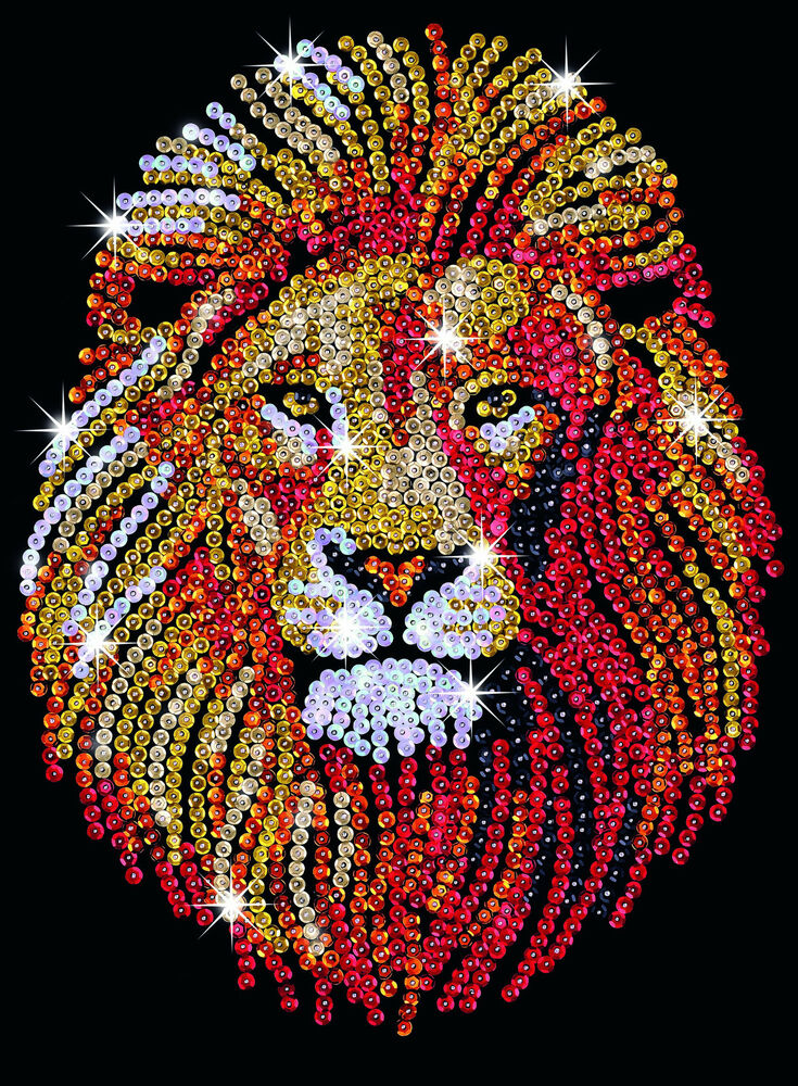 Sequin art lion craft kit by ksg sa1207 ebay for Crafts and hobbies ideas