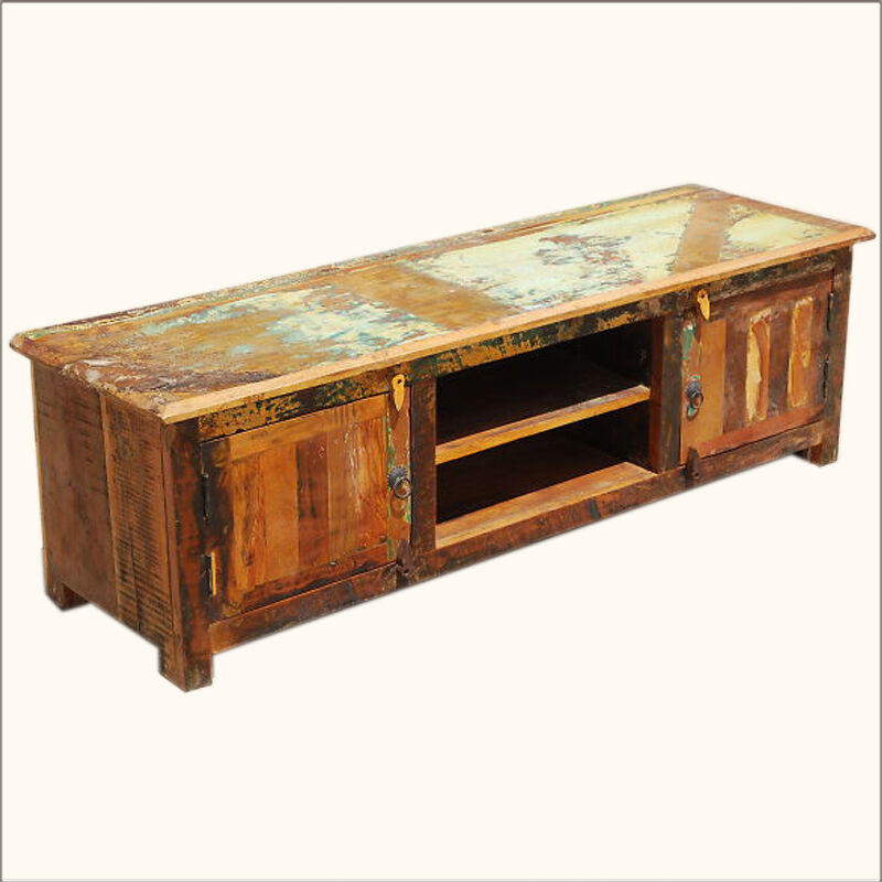 Reclaimed wood media stand rustic distressed storage tv