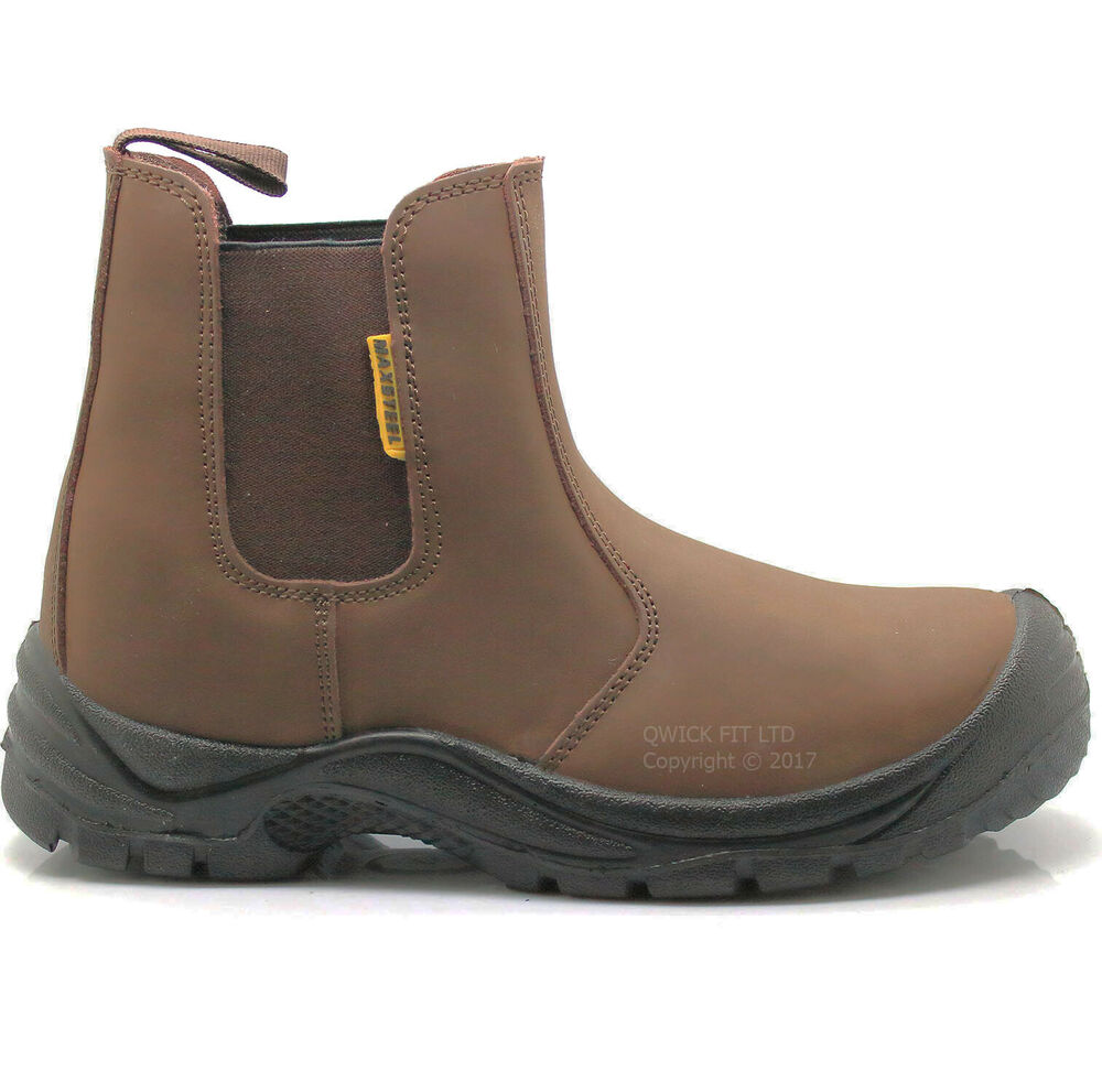 mens brown chelsea leather dealer slip on safety boots