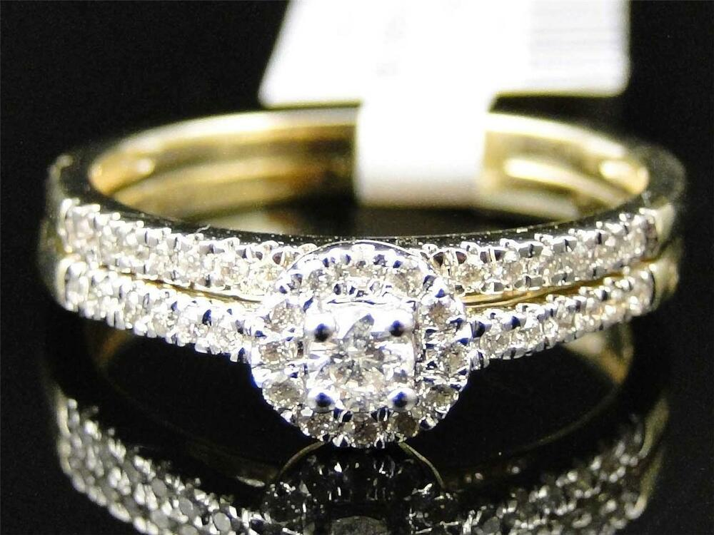 Ladies 10k yellow gold diamond solitaire halo engagement for Ebay diamond wedding ring sets