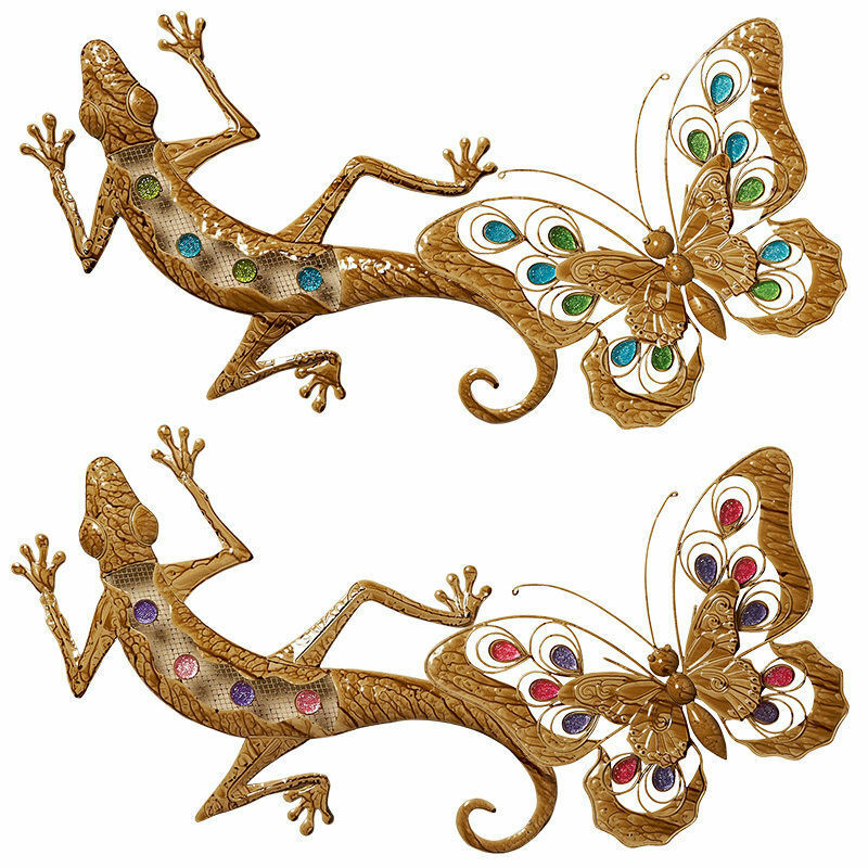 Colourful lizard butterfly wall art metal garden for Outdoor butterfly ornaments