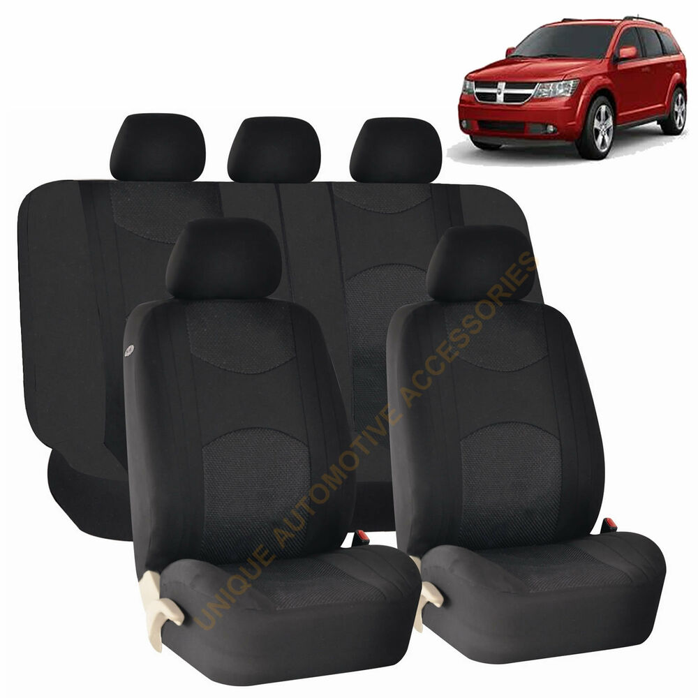 Black Airbag Amp Split Bench Seat Covers 9pc Set For Dodge