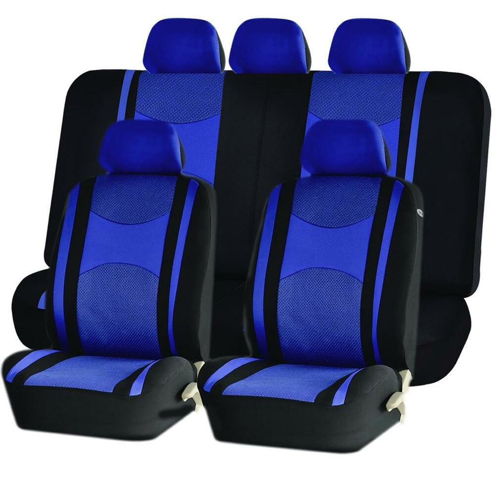 blue airbag split bench seat covers 9pc set for dodge. Black Bedroom Furniture Sets. Home Design Ideas
