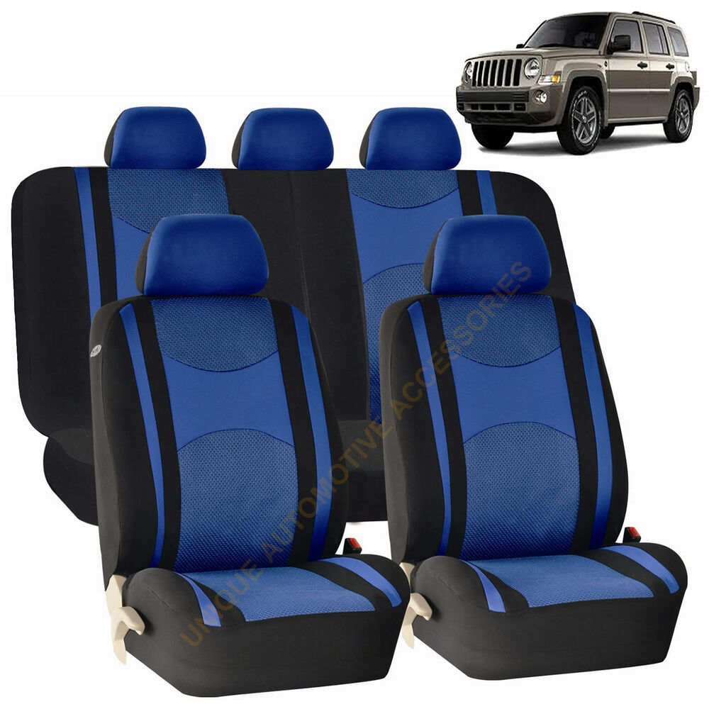 blue airbag split bench seat covers 9pc set for jeep patriot ebay. Black Bedroom Furniture Sets. Home Design Ideas