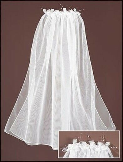 floral single catholic girls Quality first communion wreath veils are perfect with any style first  single tier first communion veil with pearl  girls first communion wreath style.